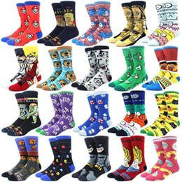 Wholesale white cotton crew socks online – funny Personality funny Anime socks Fashion Cartoon happy Men women Sock novelty high quality Stitching pattern cotton crew skarpety