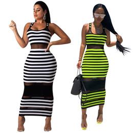 $enCountryForm.capitalKeyWord Australia - Summer Women Stripe Maxi Bodycon Party Dresses Sheer Mesh Striped Printed Sleeveless Scoop Neck Long Club Dresses White Green