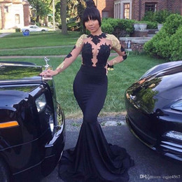 open back see through prom dresses Australia - 2020 New African Black and Gold Mermaid Prom Dresses Long High Neck Satin Sexy See Through Open Back Long Sleeve Prom Evening Gowns