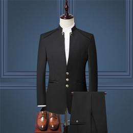 Men S Long Wedding Suit Australia - men Suit Jacket and Pant Asia size S M L XL XXL XXXL XXXXL Blue Red Black men two-piece set Business wedding men Blazer coat pants
