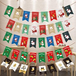 christmas stage decor NZ - Stage Set Christmas HOT Santa Claus Flags Sock 1pc New Decor Multi Style Elk Fashion Xmas Party Hanging Flags Paper