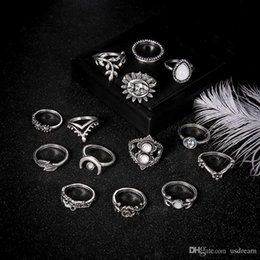 stack rings wholesale Australia - Stone Stacking Rings Crown Moon Leaf Flower Drop Midi Rings Knuckle new Designer Ring Set Women Fashion Jewelry Will and Sandy