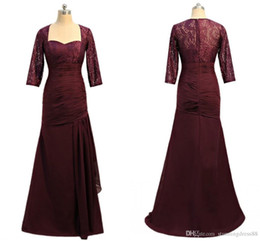 Cheap Red Lace Sweetheart Dress Australia - Sexy Wine Red Mermaid Cheap Mother of the Bride Groom Dresses Sweetheart Hollow Back Lace Sleeves Chiffon Long Evening Formal Gowns 2019