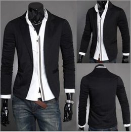 Collar Design Suits Australia - Wholesale British Blazer Mens Slim Blazers Designs Suits For Men One Button Stand-up Collar Korean Jackets For Men Knitted M-XXL 3 Colors