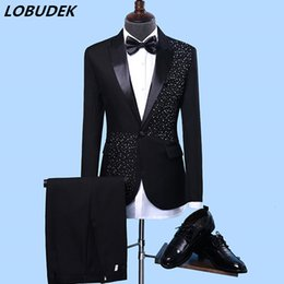 wedding crystal suits men Australia - Men's Formal Suits Black white Crystals Slim Blazers Group musical performance Costume Wedding Party Prom Host singer Stage suitMX190905