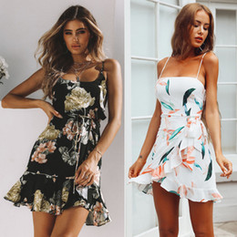 $enCountryForm.capitalKeyWord NZ - New Summer Dress Ruffle Sexy Women's Summer Boho Flower Dress Fashion Womens Party Beach Mini Dresses Floral Sundress