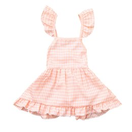 17185642330 USPS baby boy baby girl Summer Toddler Girls Kids Sleeveless Plaid Floral  Print Dress Clothes drop shipping gift 2019