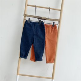 Discount blue trousers for girls - 1-6 Years Spring Autumn New Imitation Denim Girl Jeans Children Leggings Blue Orange Kids Trousers for Baby Casual Pants
