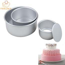 alloy cake baking UK - 3 Tiered Round Cake Mold Set Aluminum Alloy Cake Pan Set Non Stick Baking Pans 4 6 8 inch Cakes Mould Removable Bottom 386 T200524