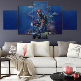 Marvel Canvas Prints Australia - Deadpool art Marvel painting Canvas Posters Wall Art Framework 5 Pieces Paintings For Living Room HD Prints Pictures