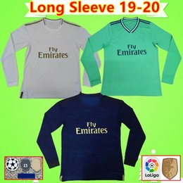 blue real madrid s soccer jersey NZ - Long Sleeve soccer jerseys real Madrid 19 20 HAZARD JOVIC MILITAO camiseta de fútbol 2019 2020 ASENSIO football shirt camisa de futebol