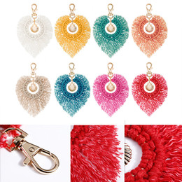 trendy hand bags Australia - Free DHL 8 Colors Women Hand-Woven Keychain Shell Pendant Keyrings Tassel Key Holder Bag Handbag Charm Keyfob