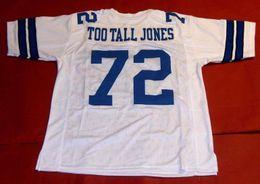 Barato retro # 72 ED JONES COSTUME MITCHELL NESS JÓIA TOO ALTO JONES Mens Costura High-end Tamanho S-5XL Futebol Jerseys Faculdade NCAA venda por atacado