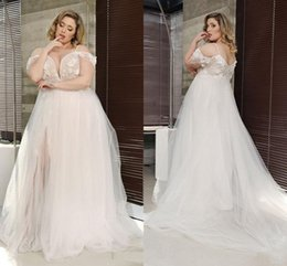 $enCountryForm.capitalKeyWord Australia - Dreaming 3D Flowers Applique Plus Size Wedding Dress Cold Shoulder Lace Backless Tulle Country Western Wedding Dress Beach Bridal Gowns