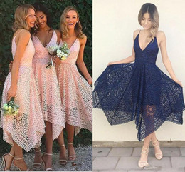 full open back prom dress Australia - Elegant Full Lace Spaghetti Short Bridesmaid Dresses cheap Open Back V Neck Homecoming Prom Evening Gown Formal Party Maid Of Honor Dress