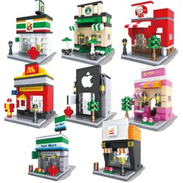 street building toys UK - Bricks Blocks Popular Mini Street Scene Retail Store Mini 3D Model Building Block Architecture Toy Supermarket