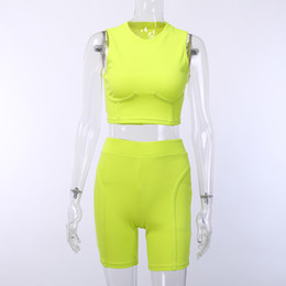$enCountryForm.capitalKeyWord Australia - Ventilation Motion Suit Woman Summer 201990247 Round Neck Solid Color Vest Shorts Fund