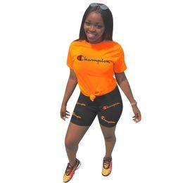 $enCountryForm.capitalKeyWord Australia - Women Champions Letter Outfit Plus Size Summer Tracksuit Short Sleeve T Shirt + Shorts Sports Jogger Suit S-3xl 2 Piece Sportswear A42203