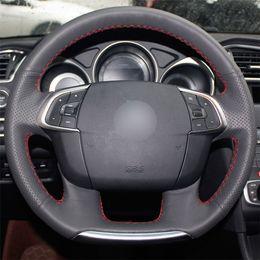 Black Citroen C4 Australia - Black Leather hand-stitched Car Steering Wheel Cover for Citroen C4 C4L 2011-2015 DS4