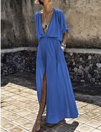 Kimono Long Femme NZ - Bohemian Boho Beach Dresses Women Summer Maxi Dress Sexy Deep V-neck Long Dress Shirt Vestidos Verano 2018 Robe Longue Femme Ete C19041001