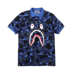 Camouflage Polo Australia - Men's t-shirt Tide brand shark tooth printing Cotton POLO short sleeve personality Camouflage Hip hop Half sleeve new style