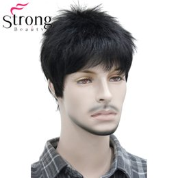 striaght hair UK - Hair Synthetic Wigs(For Black) Short Striaght Full Synthetic Wig for Men Male Hair Fleeciness Realistic Wigs