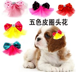 $enCountryForm.capitalKeyWord Australia - lastest cute lovely Pet Cat Dog polka dot bowties accessories Hair Bows with Rubber Bands Grooming Accessories Cute Pet Headwear Costume