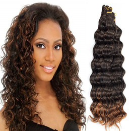 "braid deep wave extensions hair Canada - Hot Selling! 3pcs Lot 20"" Deep Wave Crochet Hair Low Temperature Fiber Synthetic Ombre Braids Hair Crochet Deep Twist Hair Extensions"