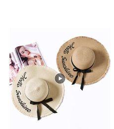 $enCountryForm.capitalKeyWord Australia - Embroidery Summer Straw Hat Women Wide Brim Sun Protection Beach Hat 2019 Adjustable Floppy Foldable Sun Hats for Women Ladies