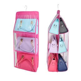 $enCountryForm.capitalKeyWord Australia - Double Side Foldable Handbag 6 Pocket Hanging Purse Storage Bag Sundry Tidy Organizer Transparent Wardrobe Closet organizer