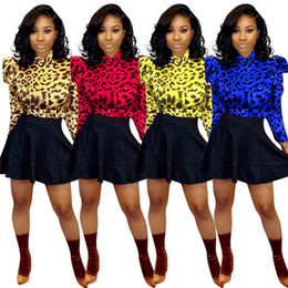 leopard skirt plus size Australia - Women Leopard plus size 2 piece dress fall winter sexy club t-shirt long sleeve skirts sweatsuit tee top mini dress outfits hot selling 1654