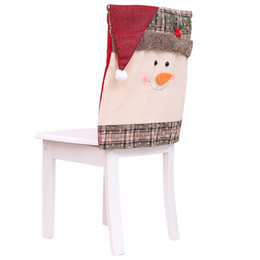 santa claus chair covers Australia - Christmas Santa Chair Cover Snowman Santa Claus Xmas Decoration Ornaments Festival Chair Hat Accessories