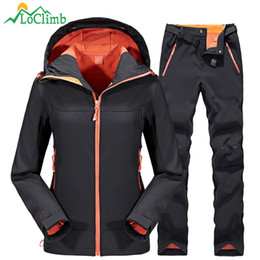 Jacket Fish Australia - LoClimb Waterproof Softshell Ski Jacket Men Women Winter Fleece Outdoor Sports Pants Trekking Fishing Hiking Jackets Suit AM092