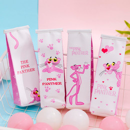kids wholesale stationery NZ - Cartoon Pink Leopard Milk Pencil Case Fun Creative large capacity pencil bag Student Stationery school supplies Kids Storage bag