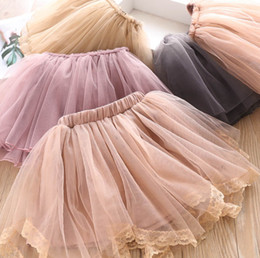 wholesale tutus Australia - Chirstmas children party skirt girls lace gauze floral embroidery princess skirt fashion new kids elastic waist lace tulle tutu skirt F9635