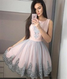Woman royal blue knee length dress online shopping - 2019 Blush Pink Gray Appliques A Line Homecoming Dresses Crew Neck Sleeveless Knee Length Women Party Prom Cocktail Dresses Cheap