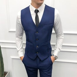Slim Fit Red Prom Dresses Australia - Formal Men's Vest Plus Size M-5xl Solid Men Suit Waistcoat Navy Purple Black Red Dress Slim Fit Gilet Wedding Prom Vest Male Y190420