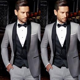 Vest Designs For Men Australia - Light Grey Groom Tuxedos Men Suits for Wedding Black Vest Satin Shawl Lapel Best Man Blazer 3Piece Latest Coat Pant Designs Terno Masculino
