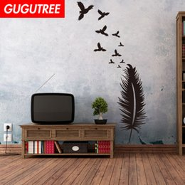 bird design wallpaper NZ - Decorate Home feather bird cartoon art wall sticker decoration Decals mural painting Removable Decor Wallpaper G-1966