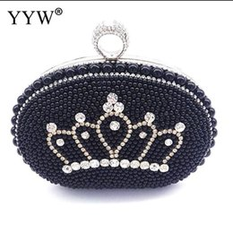 purses crown Australia - Crown Pattern Ring Clutch Bag With Evening Party Purse Rhinestone Pearl Pochette Femme Fashion Women'S Bag Over Shoulder Clutch