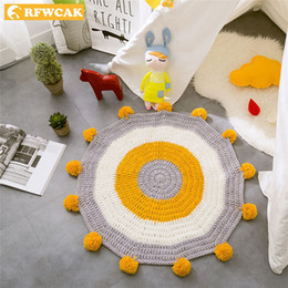 Children Hand Games Australia - RFWCAK INS Baby Infant Play Mats Kids Crawling Carpet Floor Rug Bedding Blanket Hand Woven Game Pad Children Room Decor 80CM