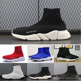 $enCountryForm.capitalKeyWord NZ - Paris Triple S Casual Shoes white glitter Flat Sock Shoes Speed Trainer Blue Red Triple Black Fashion Socks Sneakers Size 36-45