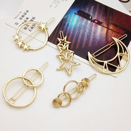 $enCountryForm.capitalKeyWord NZ - 1PC Europe and United States Women Simple Hollow five-pointed Star Moon Geometry Hair Clip Metal Hairpin Girls Hair accessories