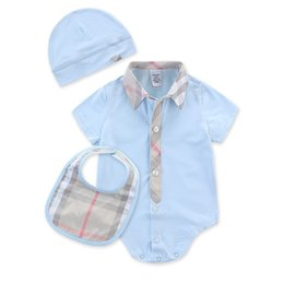 0367a9672 2019 Plaid Baby Romper Spirng Summer Short Sleeve Baby Boy Romper Infant  Warm Jumpsuit Kids Cotton baby Clothe free shipping