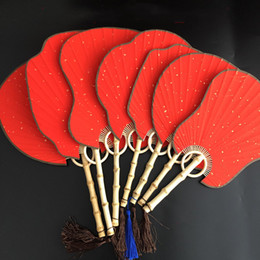 hand crafted gifts Australia - Vintage Blank Red Rice Paper Fan with Handle Traditional Craft Chinese Hand Fans DIY Painting calligraphy Bamboo Root Fan