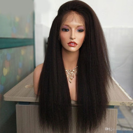 ItalIan yakI straIght lace wIg online shopping - Italian Yaki Full Lace Human Hair Wigs For Black Women Kinky Straight Wigs Lace Wigs Brazilian Remy Pre Plucked Bleached Knots