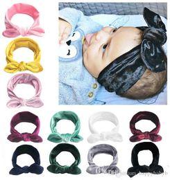 $enCountryForm.capitalKeyWord Australia - 11 color Velvet bowknot headbands cotton elastic Bunny Ear hair bands for kids 2018 new baby holiday birthday party headwear gifts