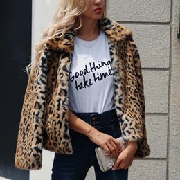 Wholesale fur luxury jacket down women resale online - Luxury Faux Fur Coat Leopard Print Winter Jacket Turn Down Collar Slim Women Outerwear Feminino Ropa Invierno