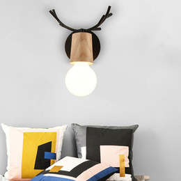 Discount led illumination lamp - Wall Lamp Vintage Wooden Light Wall Mounted Bedside Illumination Minimalist Decor With Base For Home Living Room Bedroom