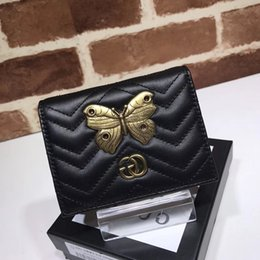Butterfly Card Shapes Australia - 2019 Top Quality Celebrity design Letter Metal Buckle V-shaped Wallet Butterfly insect Card Back Cowhide Leather 466492 Purse Clutch